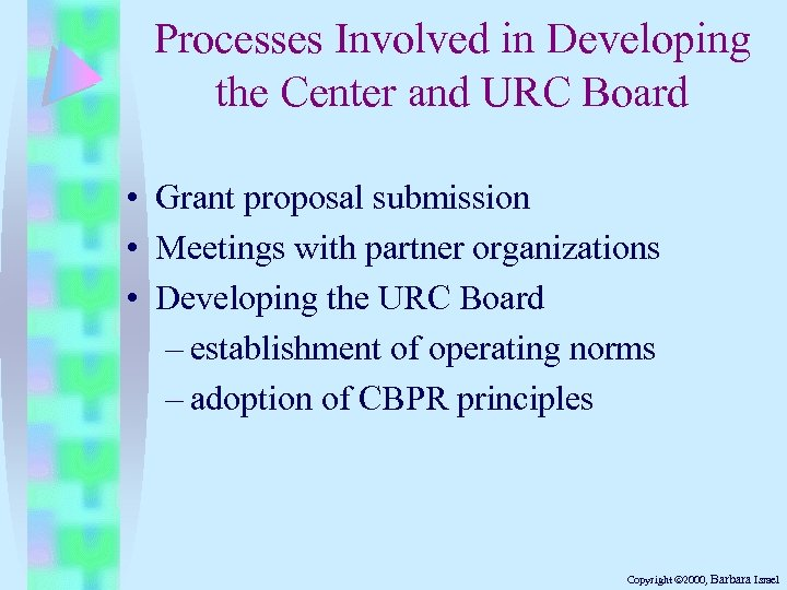 Processes Involved in Developing the Center and URC Board • Grant proposal submission •