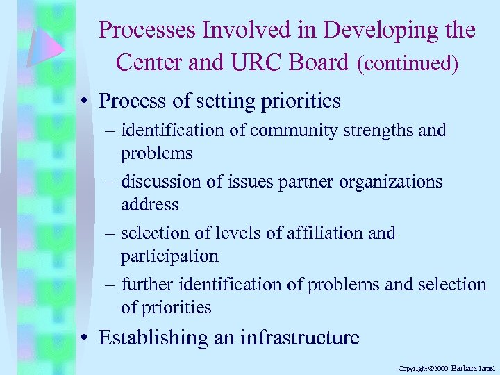 Processes Involved in Developing the Center and URC Board (continued) • Process of setting