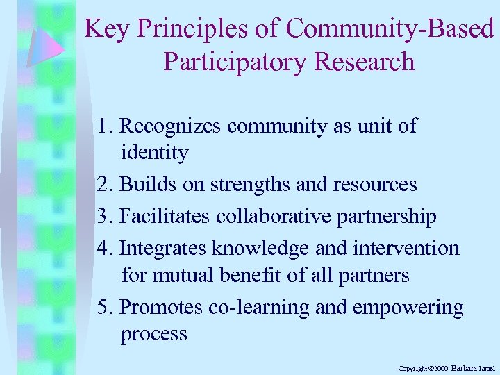 Key Principles of Community-Based Participatory Research 1. Recognizes community as unit of identity 2.
