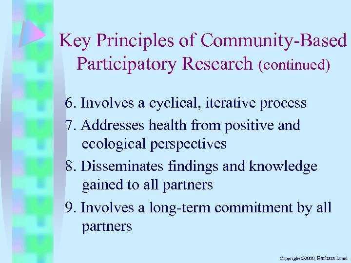 Key Principles of Community-Based Participatory Research (continued) 6. Involves a cyclical, iterative process 7.