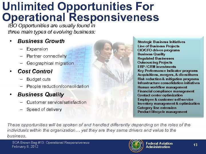 Unlimited Opportunities For Operational Responsiveness IBO Opportunities are usually found in three main types
