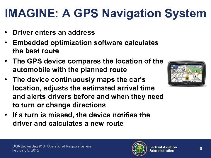 IMAGINE: A GPS Navigation System • Driver enters an address • Embedded optimization software