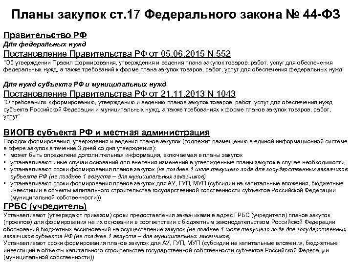Планы закупок ст. 17 Федерального закона № 44 ФЗ Правительство РФ Для федеральных нужд