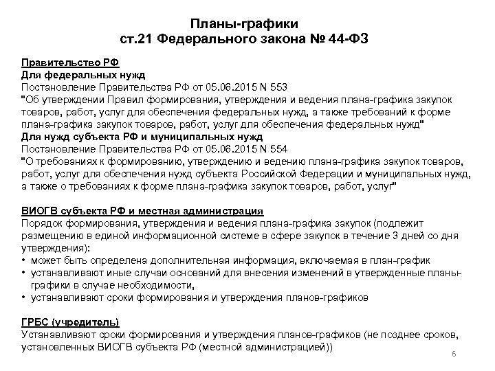 Планы графики ст. 21 Федерального закона № 44 ФЗ Правительство РФ Для федеральных нужд
