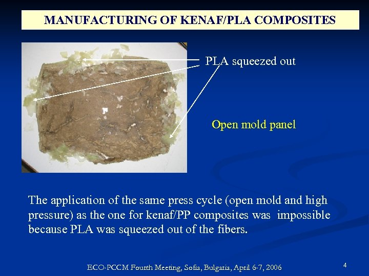 MANUFACTURING OF KENAF/PLA COMPOSITES PLA squeezed out Open mold panel The application of the