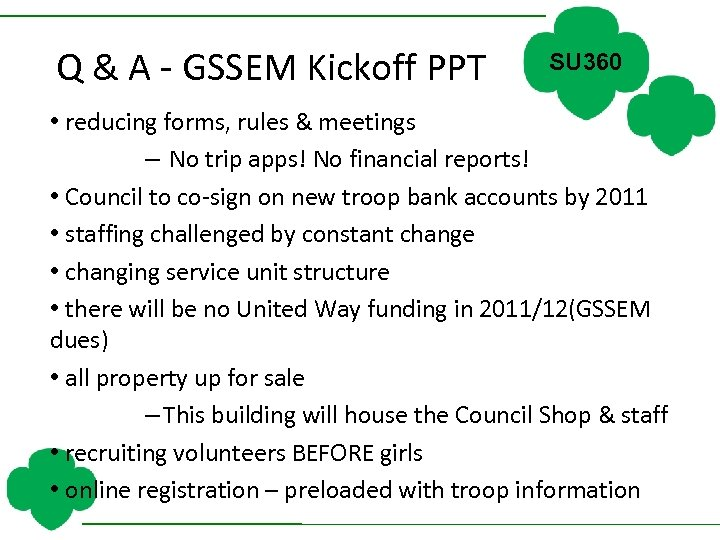 Q & A - GSSEM Kickoff PPT SU 360 • reducing forms, rules &