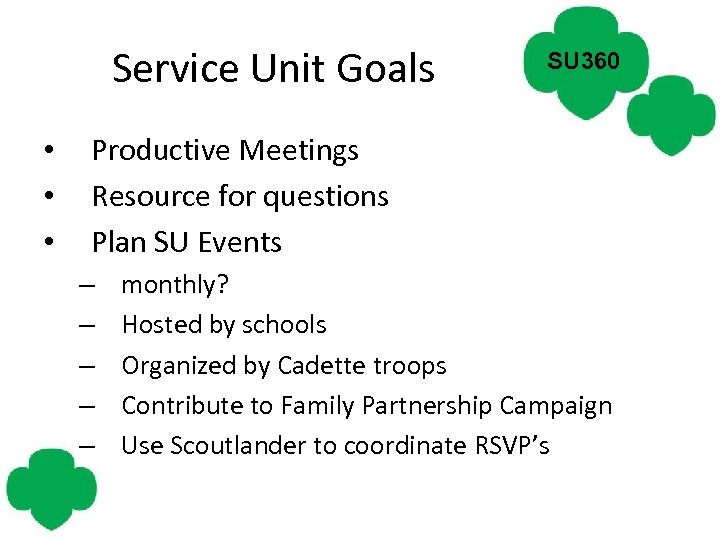 Service Unit Goals • • • SU 360 Productive Meetings Resource for questions Plan