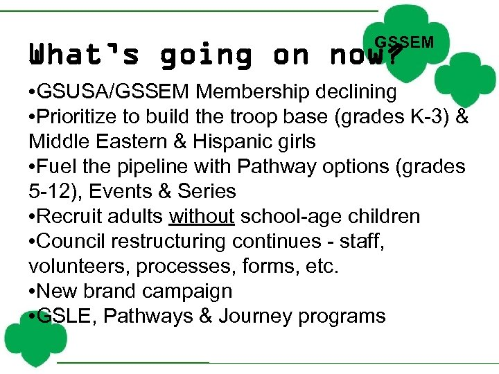 GSSEM What's going on now? • GSUSA/GSSEM Membership declining • Prioritize to build the