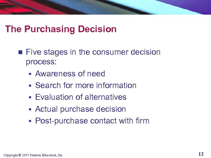 The Purchasing Decision n Five stages in the consumer decision process: § Awareness of