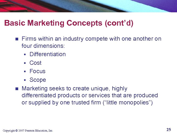 Basic Marketing Concepts (cont'd) Firms within an industry compete with one another on four