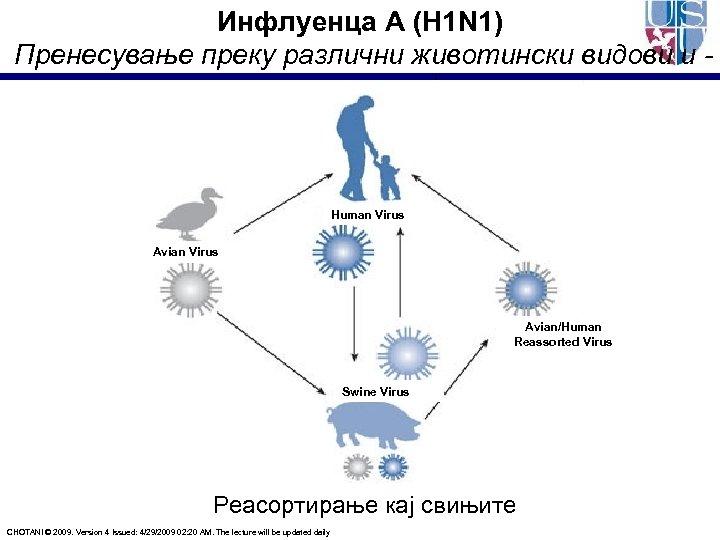 Инфлуенца А (H 1 N 1) Пренесување преку различни животински видови и -реасортирање кај