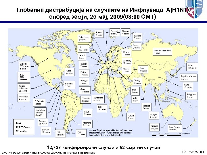 Глобална дистрибуција на случаите на Инфлуенца A(H 1 N 1) според земји, 25 мај,