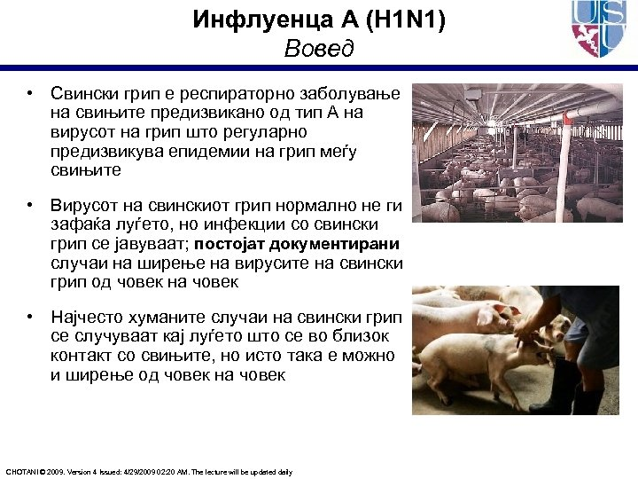 Инфлуенца А (H 1 N 1) Вовед • Свински грип е респираторно заболување на