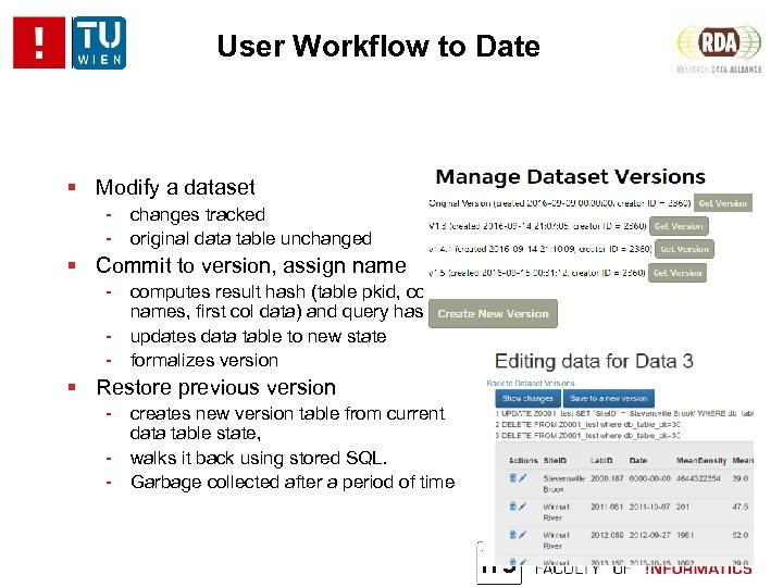 User Workflow to Date Modify a dataset - changes tracked - original data table