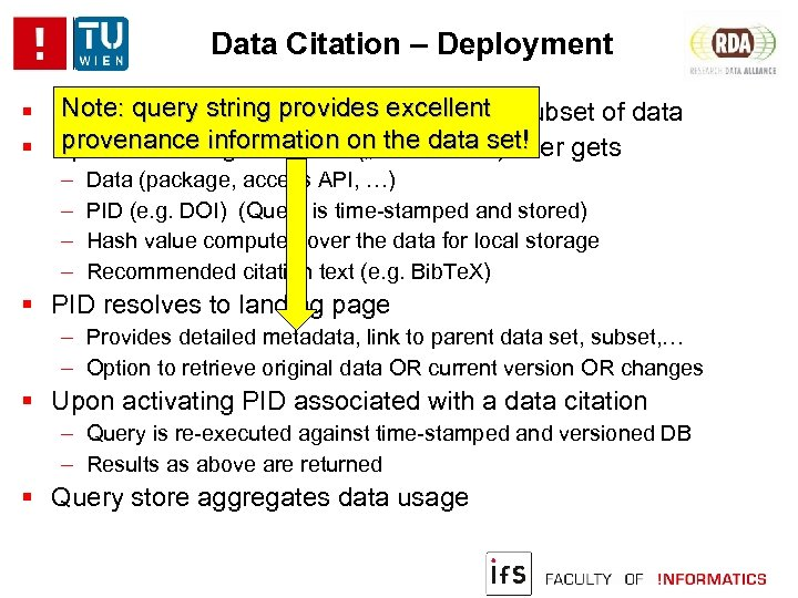 Data Citation – Deployment Note: query string provides to identify Researcher uses workbenchexcellent subset