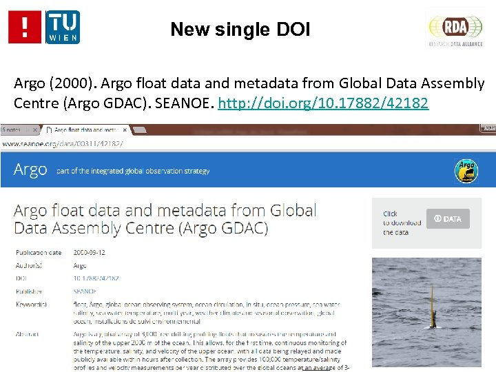 New single DOI Argo (2000). Argo float data and metadata from Global Data Assembly