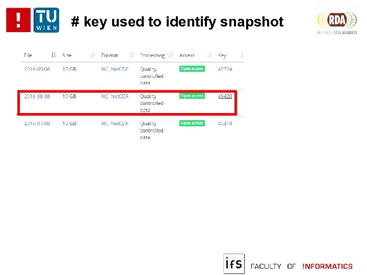 # key used to identify snapshot