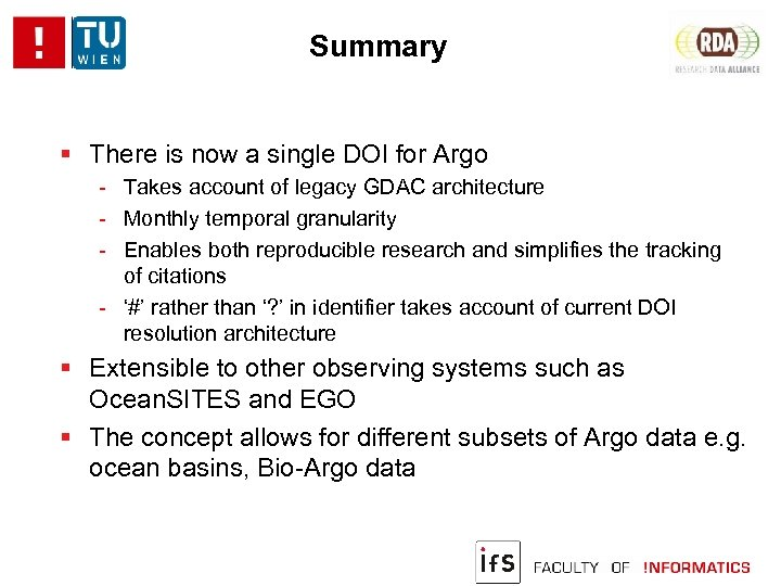 Summary There is now a single DOI for Argo - Takes account of legacy