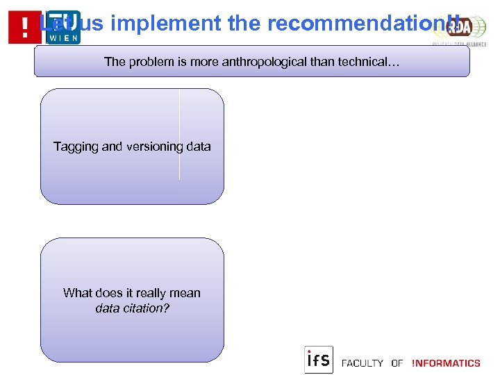 Let us implement the recommendation!! The problem is more anthropological than technical… Tagging and