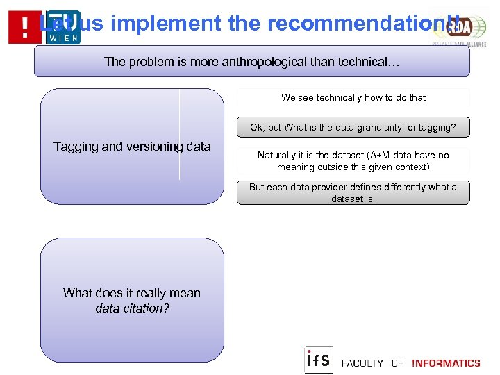 Let us implement the recommendation!! The problem is more anthropological than technical… We see