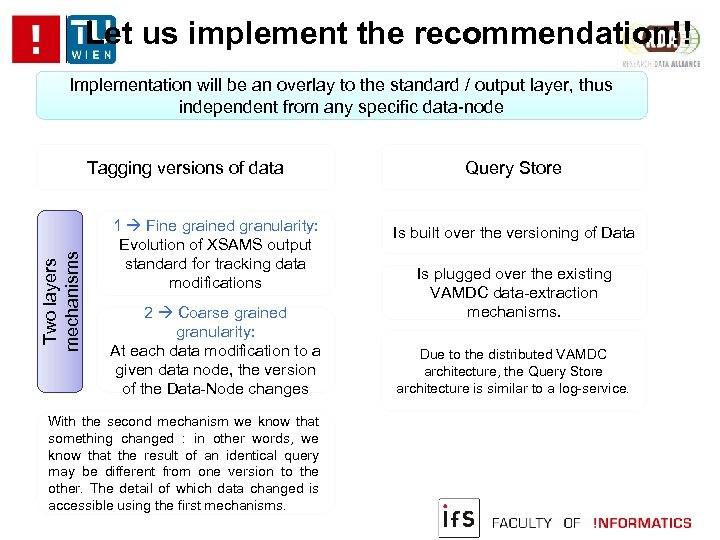 Let us implement the recommendation!! Implementation will be an overlay to the standard /