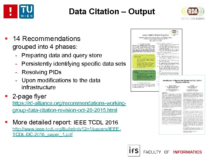Data Citation – Output 14 Recommendations grouped into 4 phases: - Preparing data and