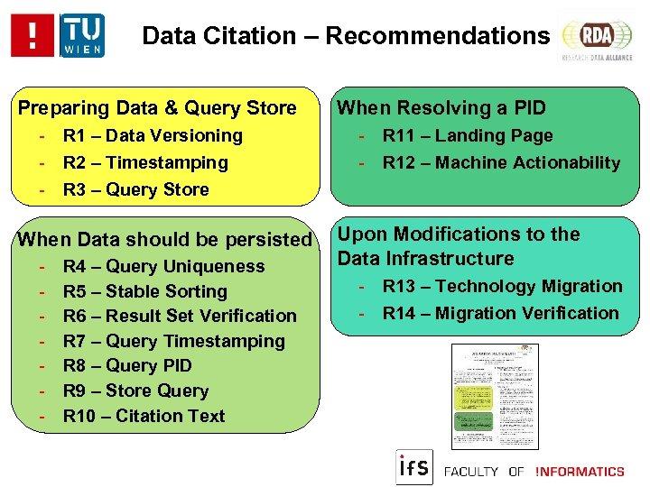 Data Citation – Recommendations Preparing Data & Query Store - R 1 – Data