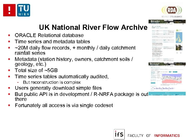 UK National River Flow Archive ORACLE Relational database Time series and metadata tables ~20
