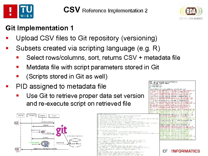 CSV Reference Implementation 2 Git Implementation 1 Upload CSV files to Git repository (versioning)