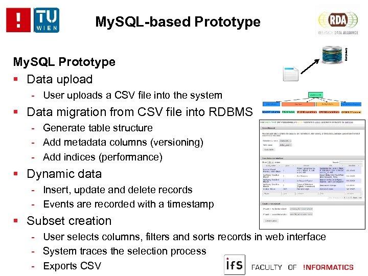 My. SQL Prototype Data upload - User uploads a CSV file into the system