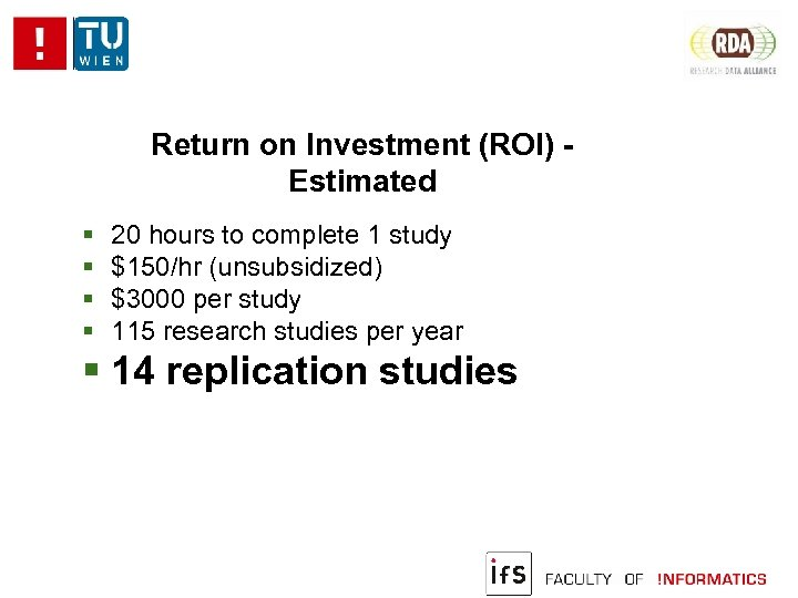 Return on Investment (ROI) Estimated 20 hours to complete 1 study $150/hr (unsubsidized) $3000