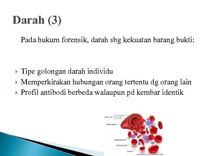 Darah (3) Pada hukum forensik, darah sbg kekuatan barang bukti: Tipe golongan darah individu