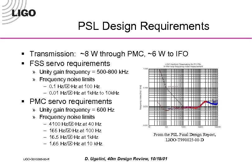 PSL Design Requirements § Transmission: ~8 W through PMC, ~6 W to IFO §
