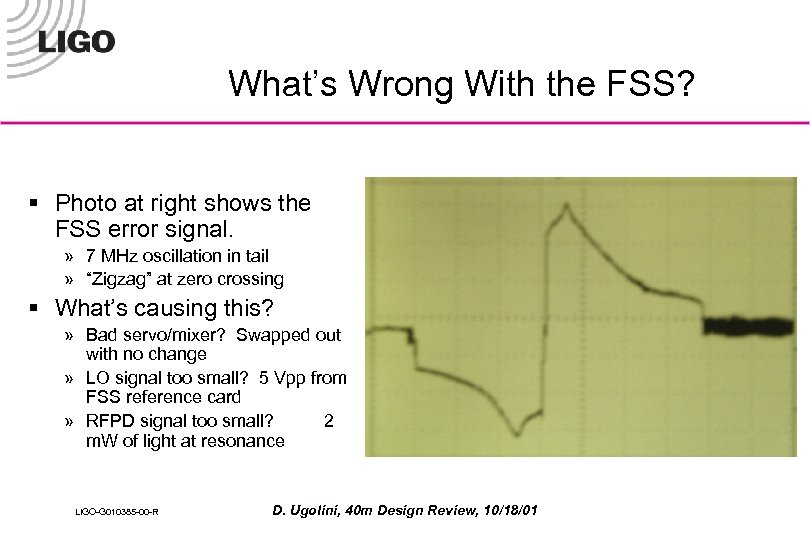 What's Wrong With the FSS? § Photo at right shows the FSS error signal.