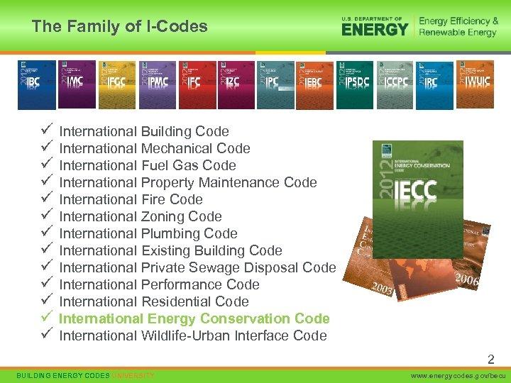 The Family of I-Codes ü ü ü ü International Building Code International Mechanical Code
