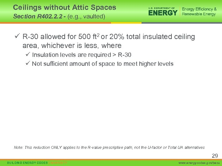 Ceilings without Attic Spaces Section R 402. 2. 2 - (e. g. , vaulted)