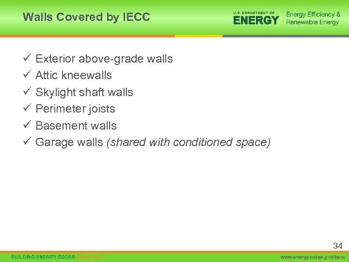 Walls Covered by IECC ü ü ü Exterior above-grade walls Attic kneewalls Skylight shaft