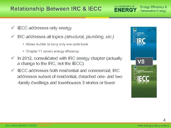 Relationship Between IRC & IECC ü IECC addresses only energy ü IRC addresses all