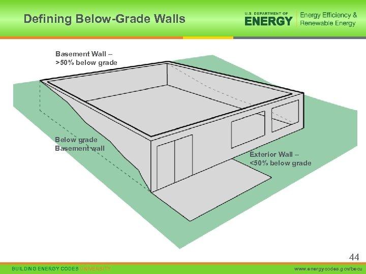 Defining Below-Grade Walls Basement Wall – >50% below grade Basement wall Exterior Wall –