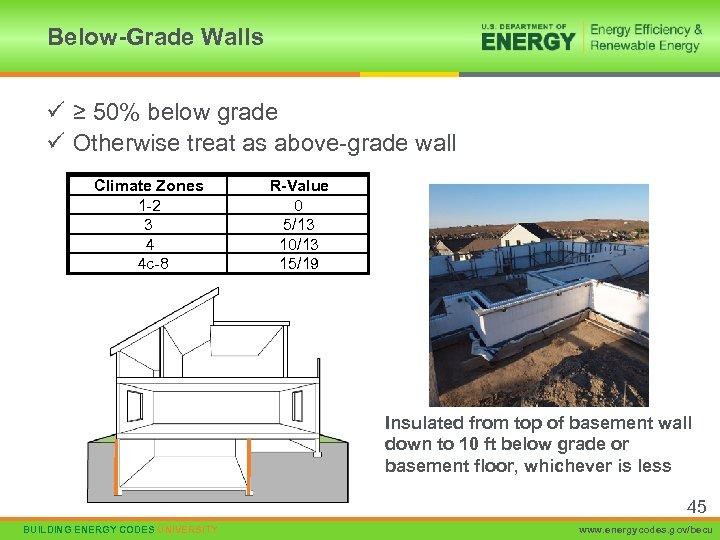Below-Grade Walls ü ≥ 50% below grade ü Otherwise treat as above-grade wall Climate