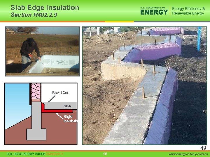 Slab Edge Insulation Section R 402. 2. 9 Bevel Cut Slab Rigid Insulation 49