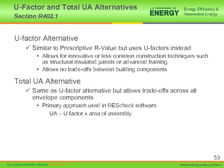 U-Factor and Total UA Alternatives Section R 402. 1 U-factor Alternative ü Similar to