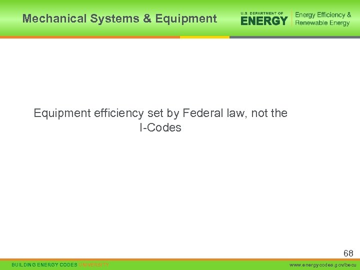 Mechanical Systems & Equipment efficiency set by Federal law, not the I-Codes 68 BUILDING