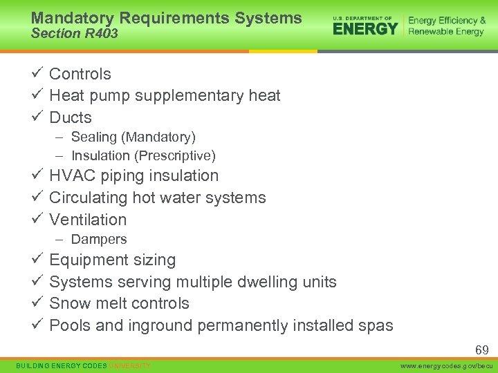 Mandatory Requirements Systems Section R 403 ü Controls ü Heat pump supplementary heat ü