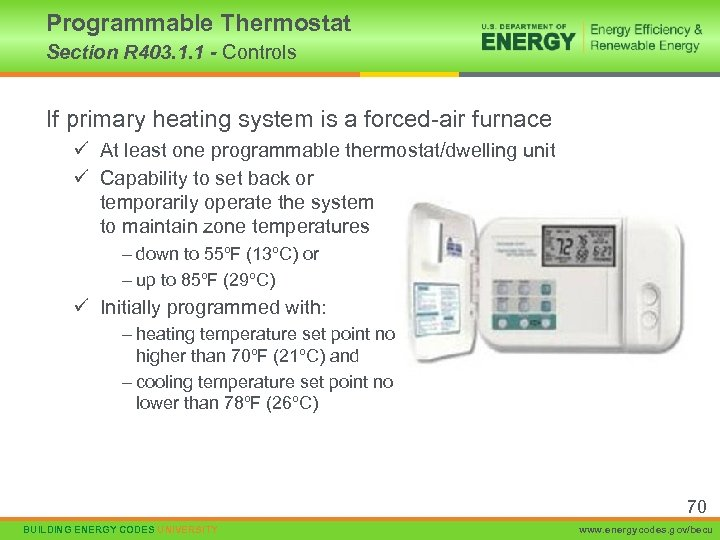 Programmable Thermostat Section R 403. 1. 1 - Controls If primary heating system is