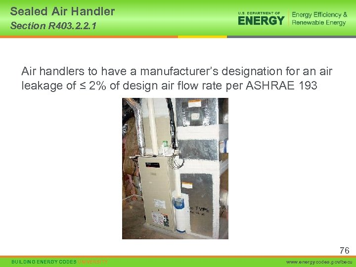 Sealed Air Handler Section R 403. 2. 2. 1 Air handlers to have a