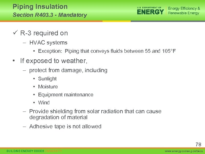 Piping Insulation Section R 403. 3 - Mandatory ü R-3 required on – HVAC