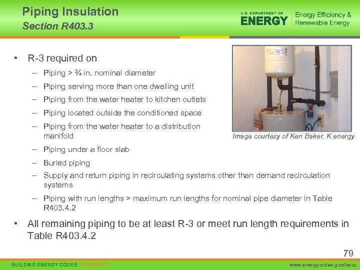 Piping Insulation Section R 403. 3 • R-3 required on – Piping > ¾