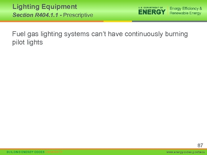 Lighting Equipment Section R 404. 1. 1 - Prescriptive Fuel gas lighting systems can't