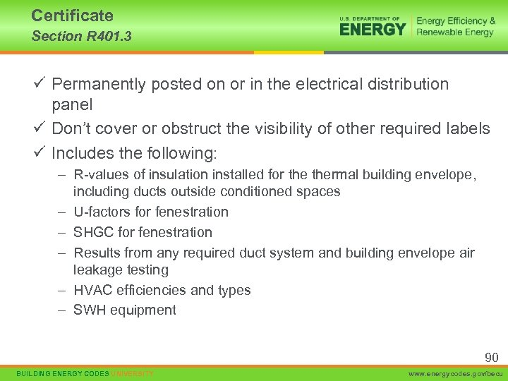 Certificate Section R 401. 3 ü Permanently posted on or in the electrical distribution